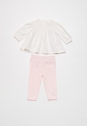 Babaluno Top And Legging Set White & Pink
