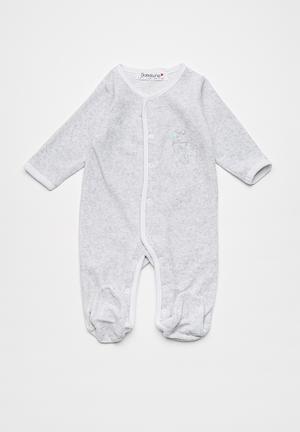 Babaluno Striped Sleepsuit Grey & White