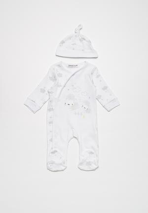 Babaluno Sleepsuit And Hat Set White