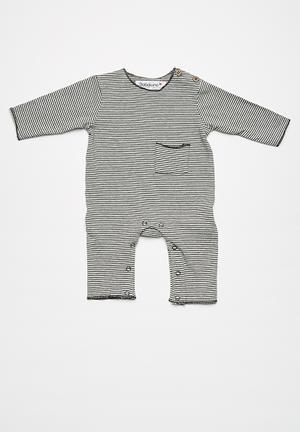 Babaluno Long Sleeve Romper Babygrows & Sleepsuits Black & Grey