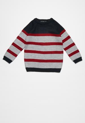 Basicthread Striped Elbow Patch Jersey Jackets & Knitwear Navy, Maroon & Grey