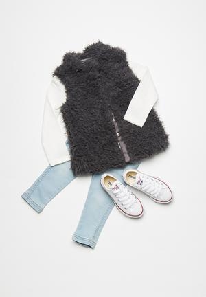 MINOTI Faux Fur Gilet Jackets & Knitwear Charcoal