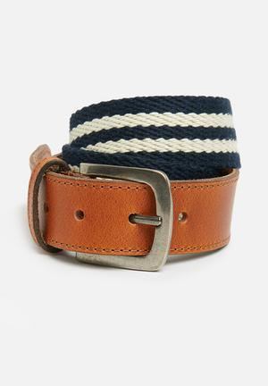 Basicthread Leather And Canvas Belt Tan, Navy & White