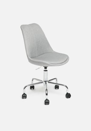 Sixth Floor Dima Upholstered Desk Chair Upholstered Fabric Seat, Chrome Base