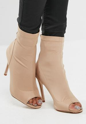 Missguided Neoprene Peep Toe Ankle Boot Beige