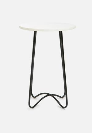 Sixth Floor Cassandra Marble Side Table Iron & Marble
