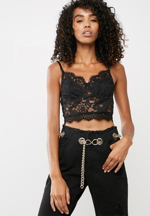 Missguided Carli Bybel X Missguided Lace Bralet Blouses Black