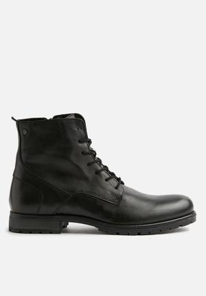 Jack & Jones Worca Leather Boots Black