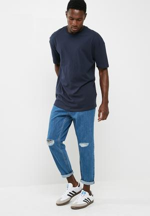 Basicthread Regular Crop Jeans Blue