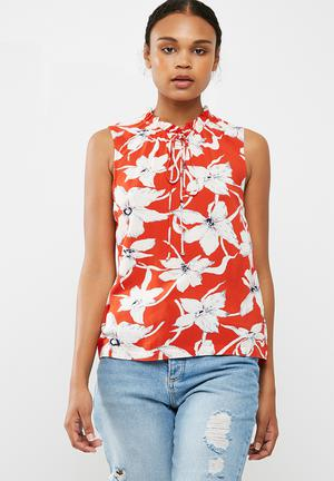 Vero Moda July Floral Blouse Orange, White & Navy