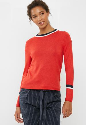 ONLY Kaisa Pullover Knitwear Red, Navy & White