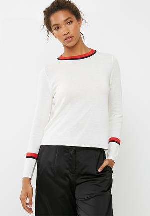ONLY Kaisa Pullover Knitwear Cream, Navy & Red