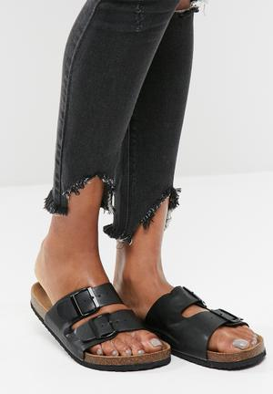 Cotton On Rex Double Buckle Slide Sandals & Flip Flops Black