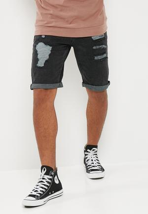 New Look Slim Wash Rip Denim Shorts Charcoal