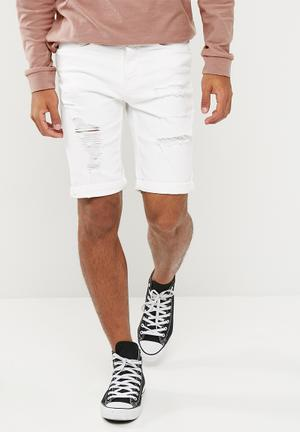 New Look Ripped Shorts White