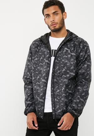 PUMA AOP Windbreaker Hoodies, Sweats & Jackets Grey, Black & Khaki