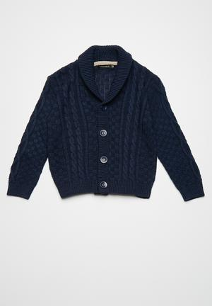 Basicthread Classic Cable Cardigan Jackets & Knitwear  Navy