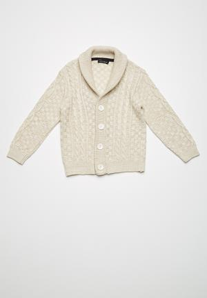 Basicthread Classic Cable Cardigan Jackets & Knitwear Beige