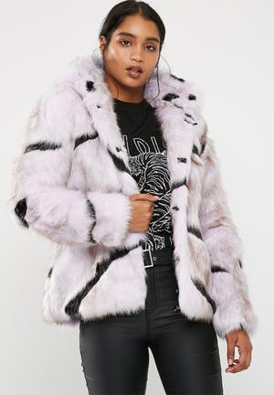 Zebra faux fur coat