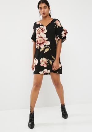 New Look Floral Print Ruffle Sleeve Tunic Dress Formal Black, Pink & Beige