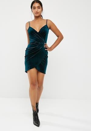 New Look Crushed Velvet Wrap Strappy Bodycon Occasion Teal