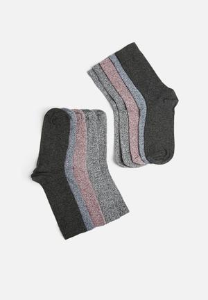New Look 5 Pack Grindles Socks Black Melange, Maroon Melange & Navy Melange