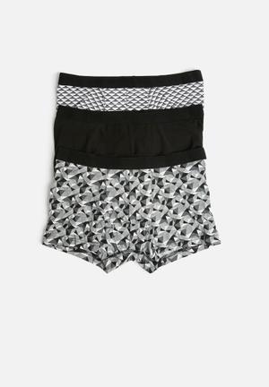 New Look Mono Geo Trunk Underwear Black, Grey & White