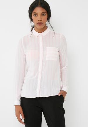 ONLY Candy Stripe Shirt Pink & White