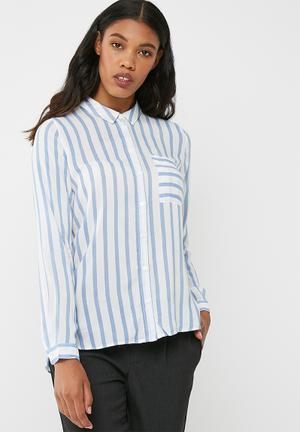 ONLY Candy Stripe Shirt Blue & White