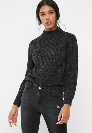 Jacqueline De Yong Crunchy Highneck Sweater Knitwear Black Melange