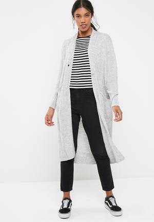 Jacqueline De Yong Aika Long Cardigan Knitwear Grey