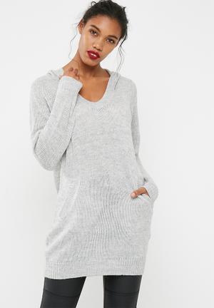 Jacqueline De Yong Aika Hooded Sweater Knitwear Grey
