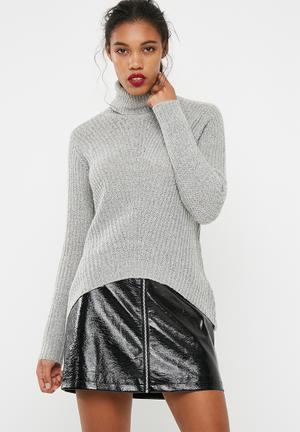 Jacqueline De Yong Sanna Highneck Sweater Knitwear Grey