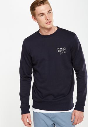 Cotton On Crew Fleece Top Hoodies & Sweats Navy
