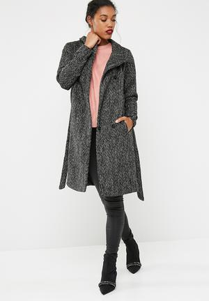 ONLY Hillary Wool Coat Black, White & Grey