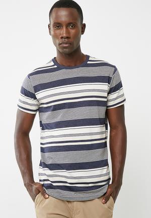 Basicthread Striped Crew Neck Tee T-Shirts & Vests Navy & White