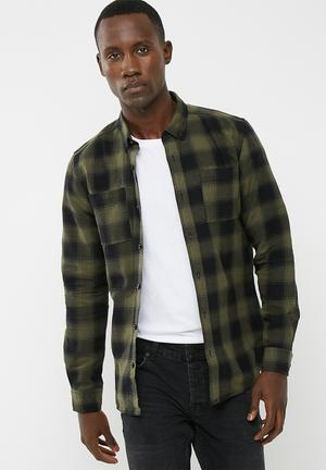 Only & Sons Flaw Regular Fit Shirt  Khaki & Black