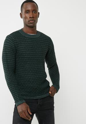 Only & Sons Doc Textured Crew Knit Knitwear Dark Green