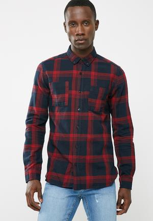 Only & Sons Flaw Regular Fit Shirt  Red & Navy