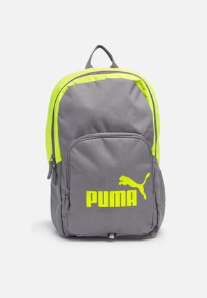 PUMA Phase Backpack Bags & Wallets Grey & Lime Green
