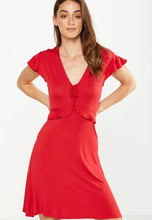 Cotton On Rhianna Short Sleeve Frill Dress Casual Red
