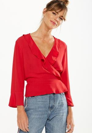 Cotton On Ruby Ruffle Blouse Red