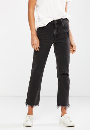 Cotton On Mid Rise Slim Straight Jeans Black