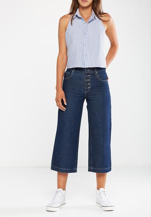 Cotton On Mid Rise Wide Leg Cropped Jeans Blue