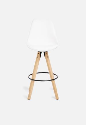 Sixth Floor Dima Barstool PU Seat, Rubber Wood Legs Oak Stained, Oil Treated