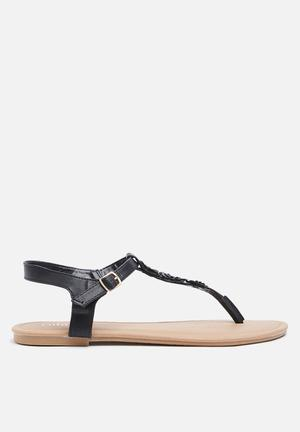Cotton On Everyday Floral Toe Post Sandals & Flip Flops Black