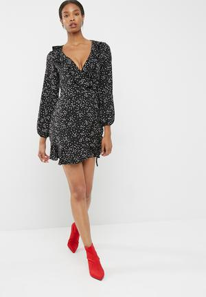 ce5c6704b267 Long sleeve ruffle wrap dress
