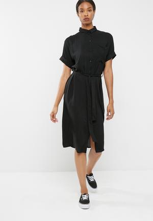 Dailyfriday Drop Shoulder Midi Shirt Dress Formal Black