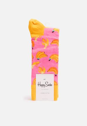 Happy Socks Banana Socks Pink & Yellow
