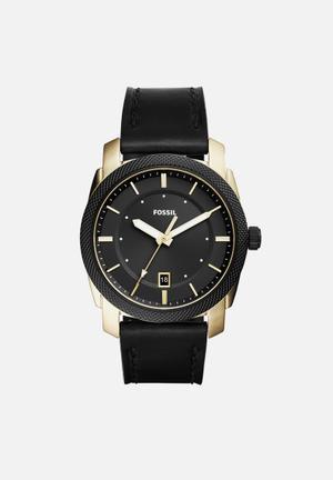 Fossil Machine Watches Black & Gold